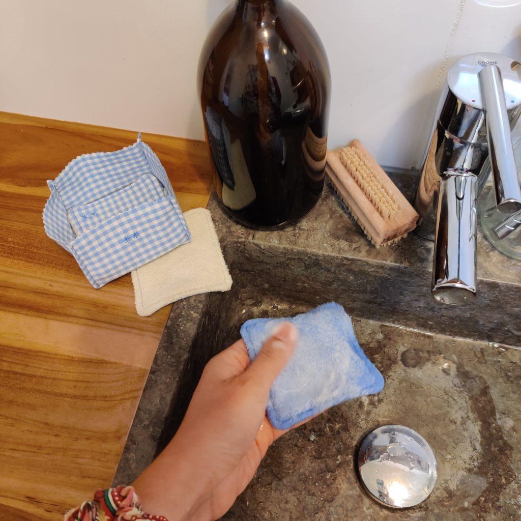 Coton réutilisable en tissu à laver