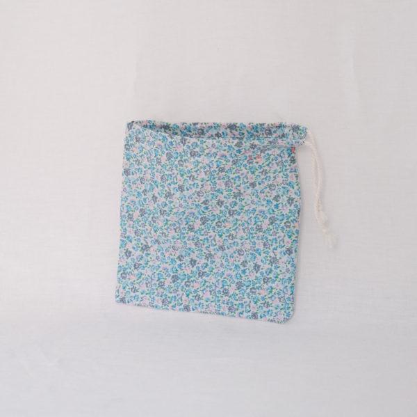 Pochon pochette sac à vrac fleurs bleu