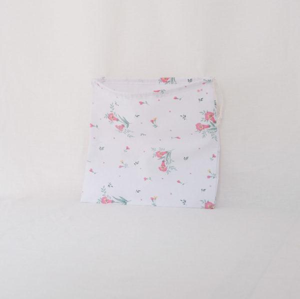 Pochon pochette sac à vrac blanc à fleurs