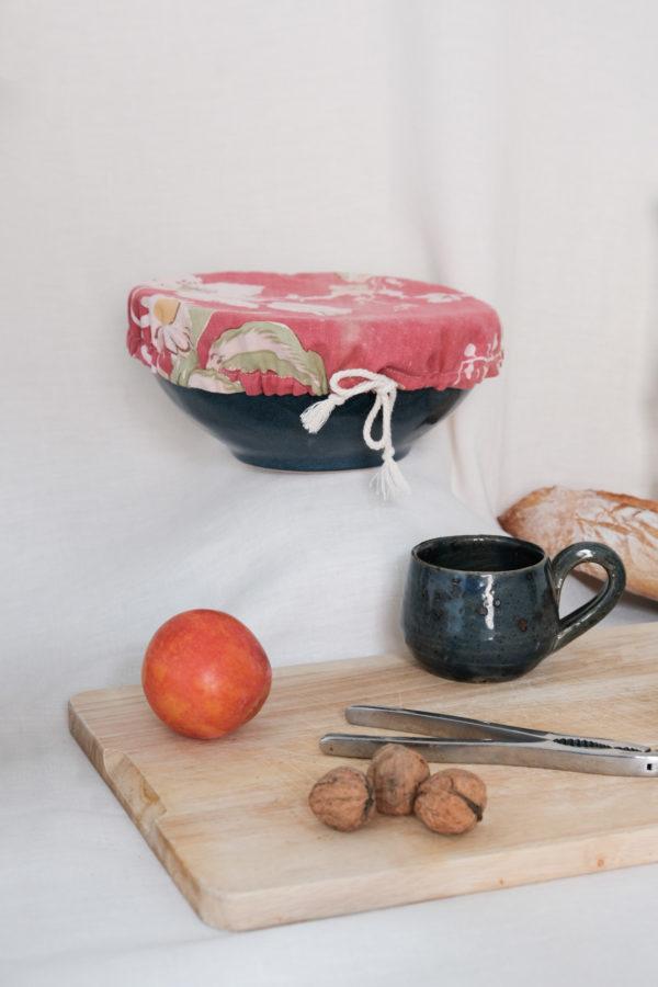 Couvre pot en tissu upcyclé, couleur rouge pour emballage alimentaire zéro déchet