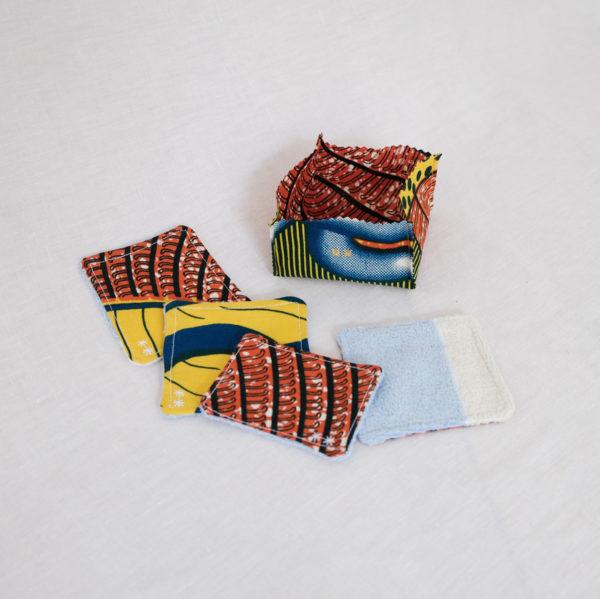 Lingette lavable et paniere motif couleur