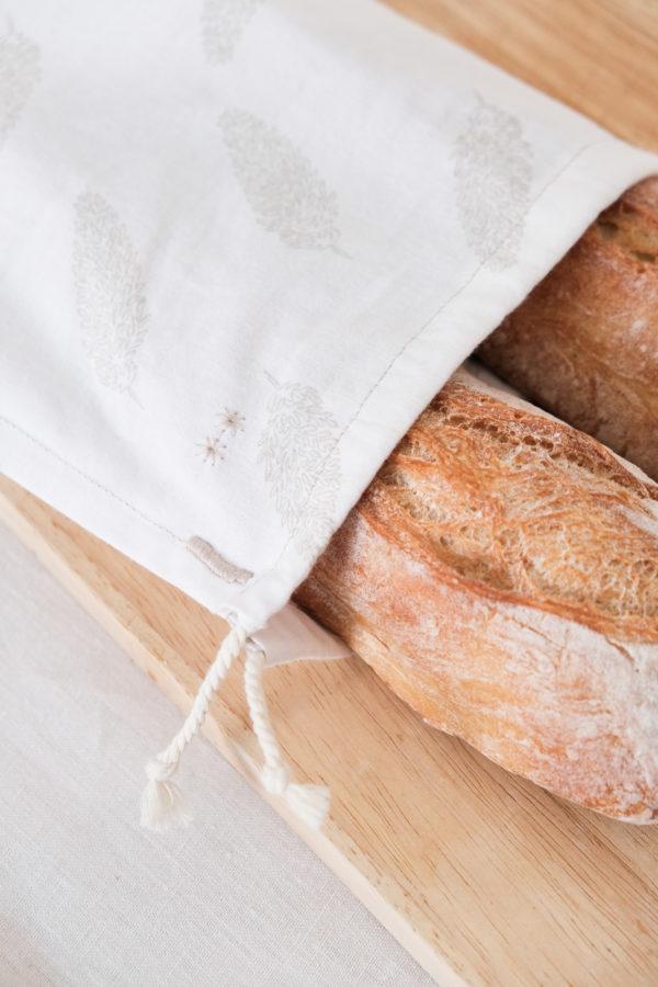 Sac de transport pour le pain zéro déchet en tissu upcyclé