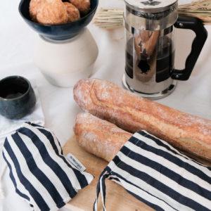 Sac de transport pour le pain et pochon rayés zéro déchet en tissu upcyclé