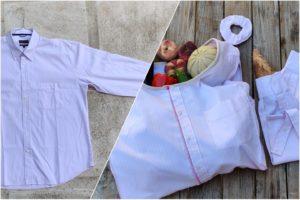 Exemple d'une chemise upcyclée par the loop project en tote bag, sac à pain et chouchou